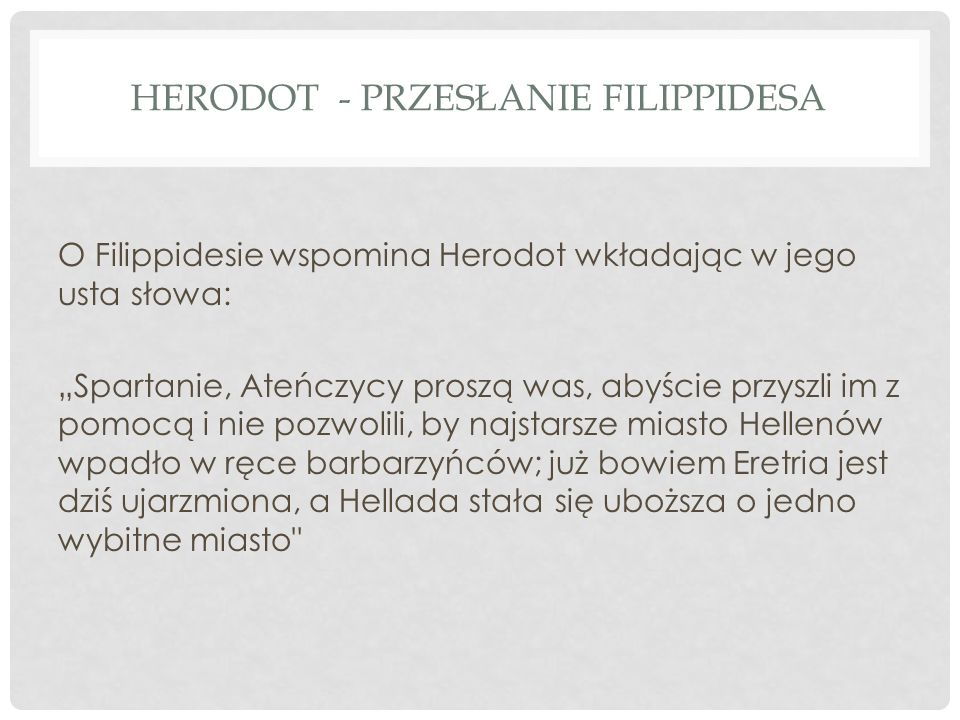 Herodot - przesłanie Filippidesa