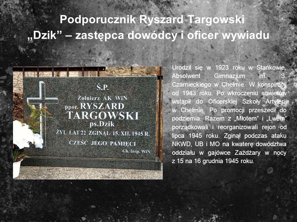 """Podporucznik Ryszard Targowski """"Dzik – zastępca dowódcy i oficer wywiadu"""