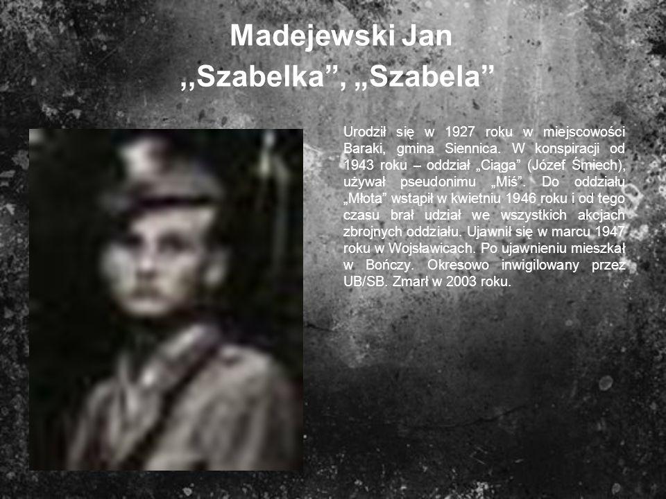 """Madejewski Jan ,,Szabelka , """"Szabela"""