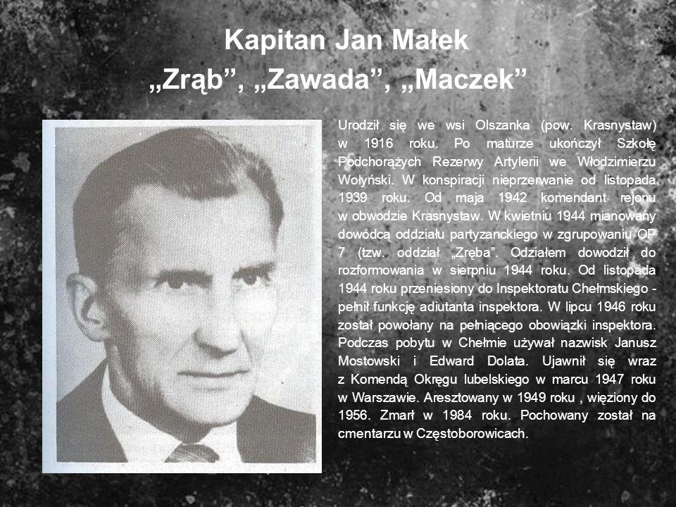 """Kapitan Jan Małek """"Zrąb , """"Zawada , """"Maczek"""