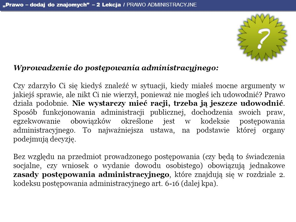 Wprowadzenie do postępowania administracyjnego: