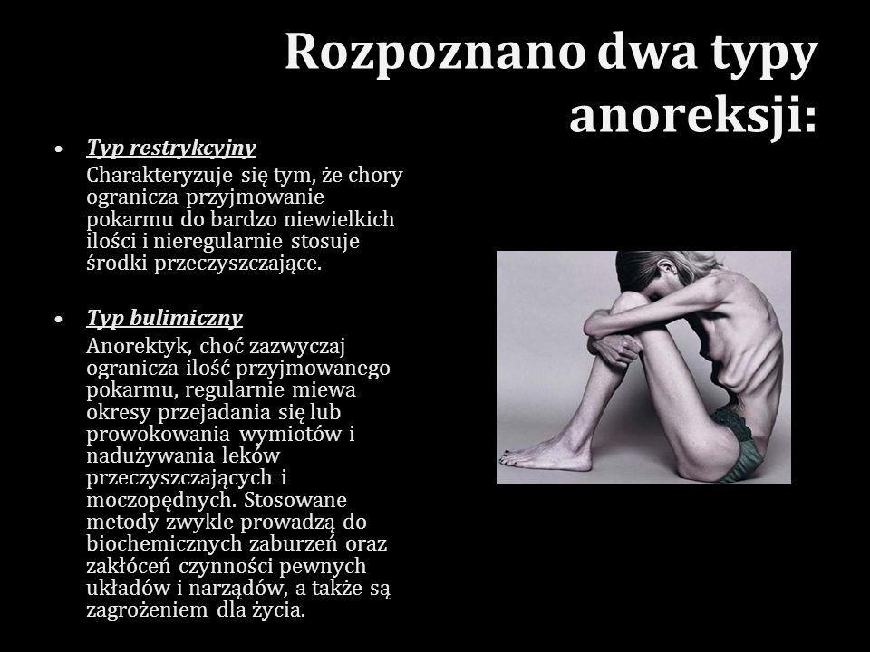 Rozpoznano dwa typy anoreksji: