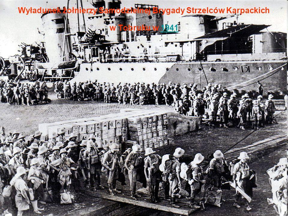 Wyładunek żołnierzy Samodzielnej Brygady Strzelców Karpackich w Tobruku w 1941