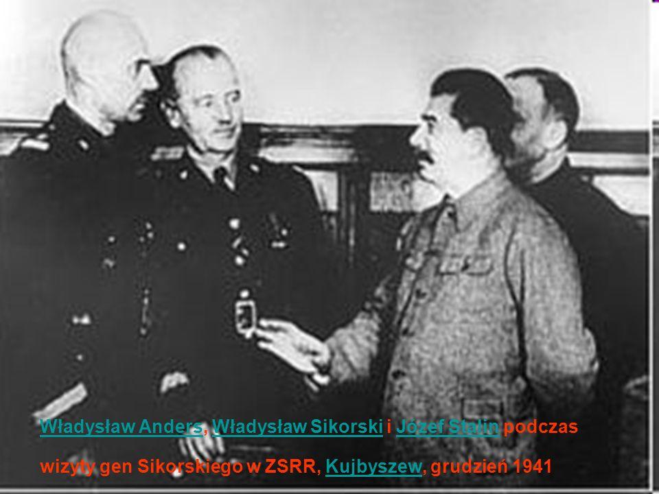 Władysław Anders, Władysław Sikorski i Józef Stalin podczas wizyty gen Sikorskiego w ZSRR, Kujbyszew, grudzień 1941