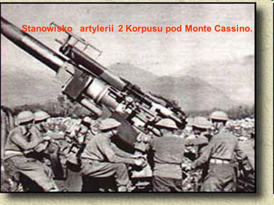 Stanowisko artylerii 2 Korpusu pod Monte Cassino.