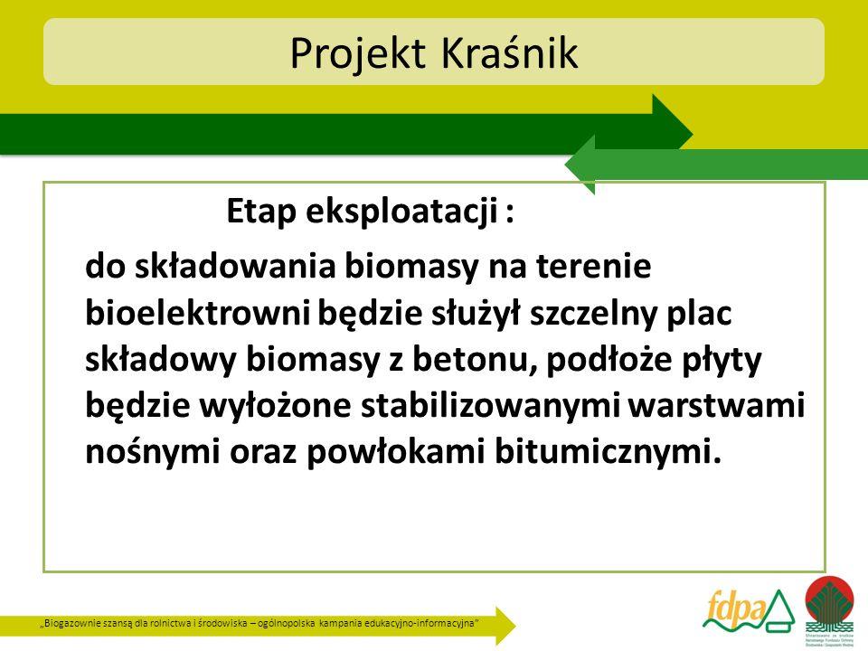 Projekt Kraśnik Etap eksploatacji :