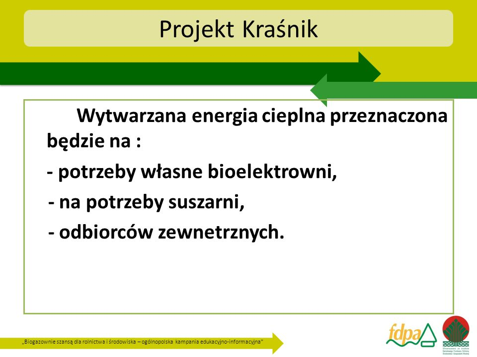 Projekt Kraśnik Wytwarzana energia cieplna przeznaczona będzie na :