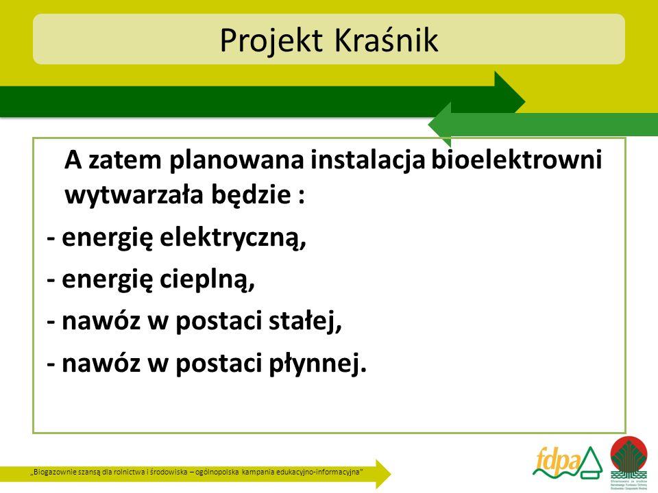 Projekt Kraśnik A zatem planowana instalacja bioelektrowni wytwarzała będzie : - energię elektryczną,