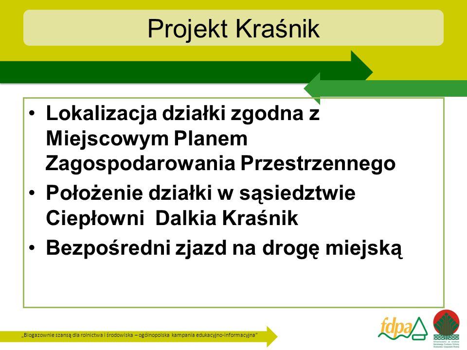 Projekt Kraśnik Lokalizacja działki zgodna z Miejscowym Planem Zagospodarowania Przestrzennego.