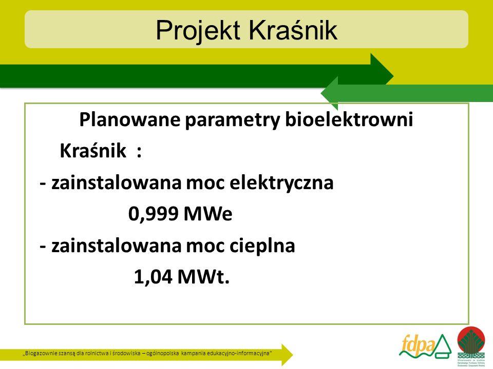 Projekt Kraśnik Planowane parametry bioelektrowni Kraśnik :