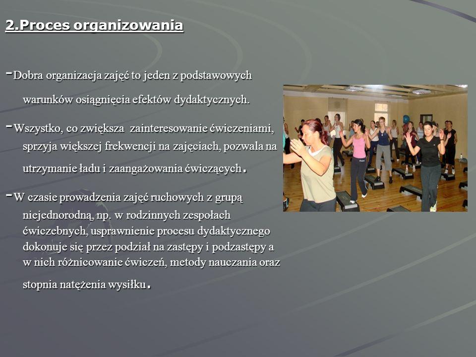 2.Proces organizowania -Dobra organizacja zajęć to jeden z podstawowych warunków osiągnięcia efektów dydaktycznych.