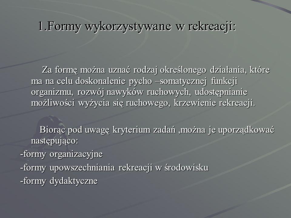 1.Formy wykorzystywane w rekreacji: