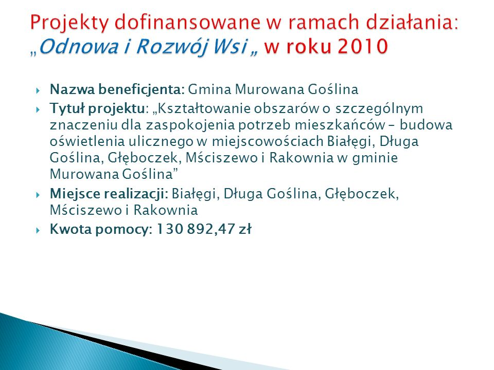 """Projekty dofinansowane w ramach działania: """"Odnowa i Rozwój Wsi """" w roku 2010"""