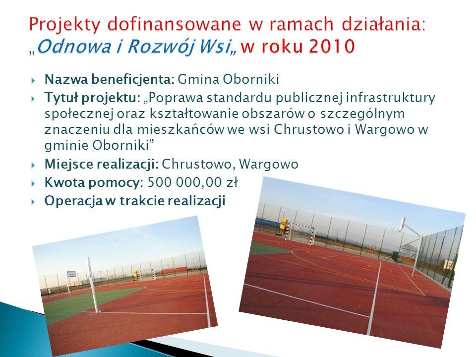 """Projekty dofinansowane w ramach działania: """"Odnowa i Rozwój Wsi"""" w roku 2010"""