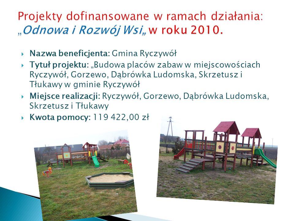 """Projekty dofinansowane w ramach działania: """"Odnowa i Rozwój Wsi"""" w roku 2010."""