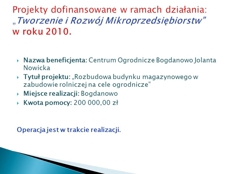 """Projekty dofinansowane w ramach działania: """"Tworzenie i Rozwój Mikroprzedsiębiorstw w roku 2010."""