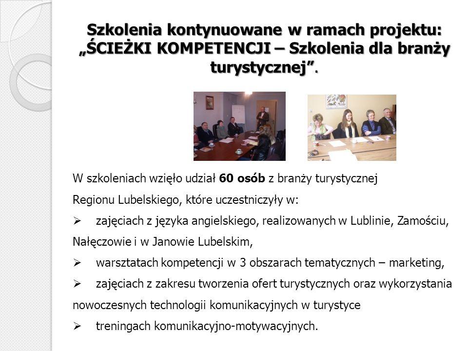 """Szkolenia kontynuowane w ramach projektu: """"ŚCIEŻKI KOMPETENCJI – Szkolenia dla branży turystycznej ."""