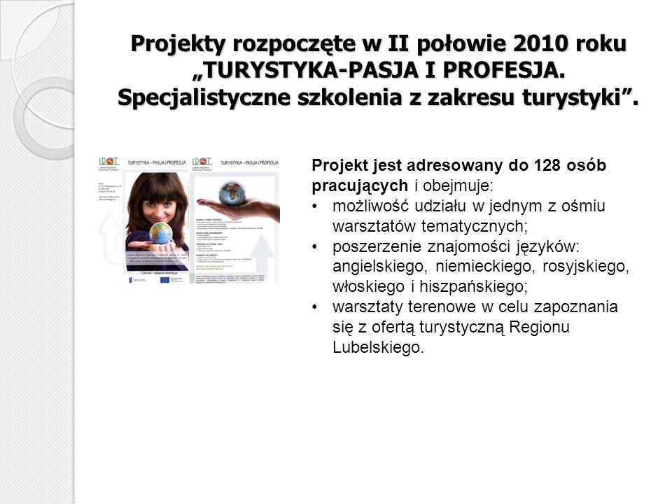 """Projekty rozpoczęte w II połowie 2010 roku """"TURYSTYKA-PASJA I PROFESJA"""
