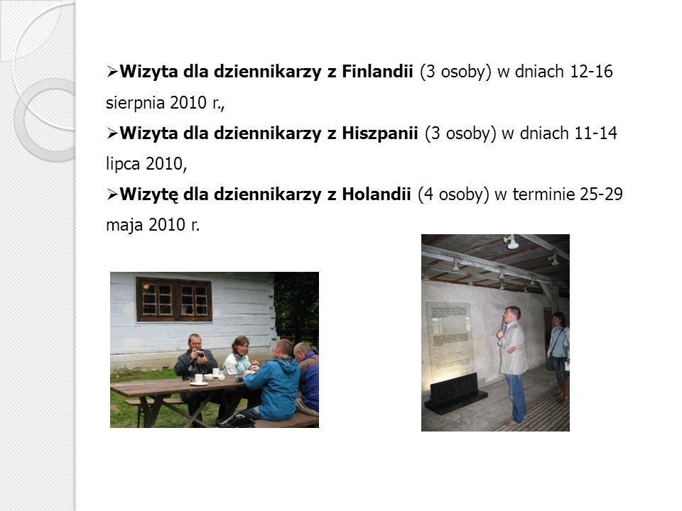 Wizyta dla dziennikarzy z Finlandii (3 osoby) w dniach 12-16 sierpnia 2010 r.,