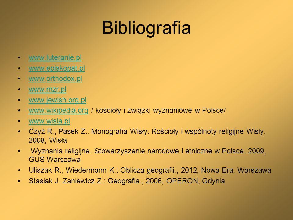 Bibliografia www.luteranie.pl www.episkopat.pl www.orthodox.pl