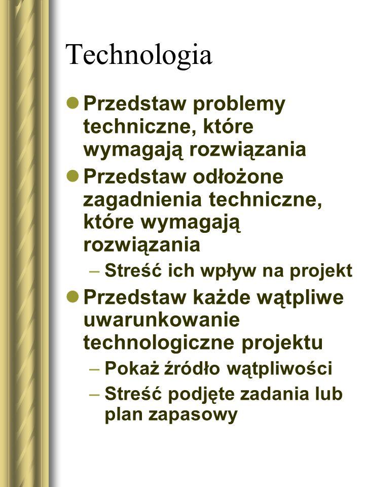 Technologia Przedstaw problemy techniczne, które wymagają rozwiązania