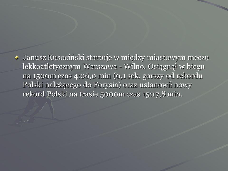 Janusz Kusociński startuje w między miastowym meczu lekkoatletycznym Warszawa - Wilno.