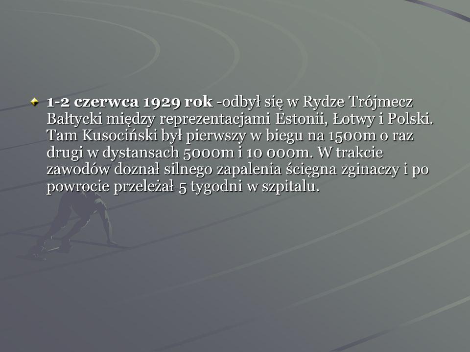 1-2 czerwca 1929 rok -odbył się w Rydze Trójmecz Bałtycki między reprezentacjami Estonii, Łotwy i Polski.