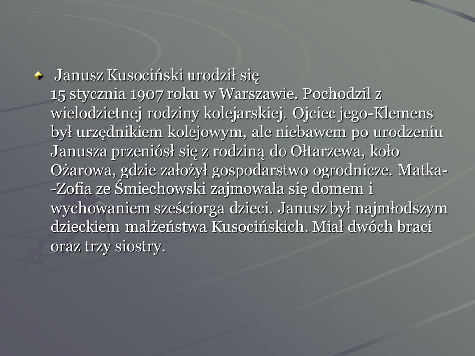 Janusz Kusociński urodził się 15 stycznia 1907 roku w Warszawie