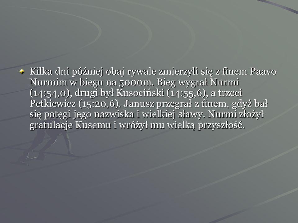 Kilka dni później obaj rywale zmierzyli się z finem Paavo Nurmim w biegu na 5000m.