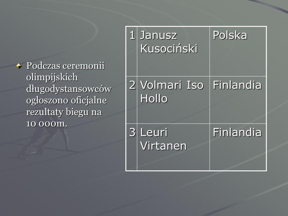 1 Janusz Kusociński Polska 2 Volmari Iso Hollo Finlandia 3