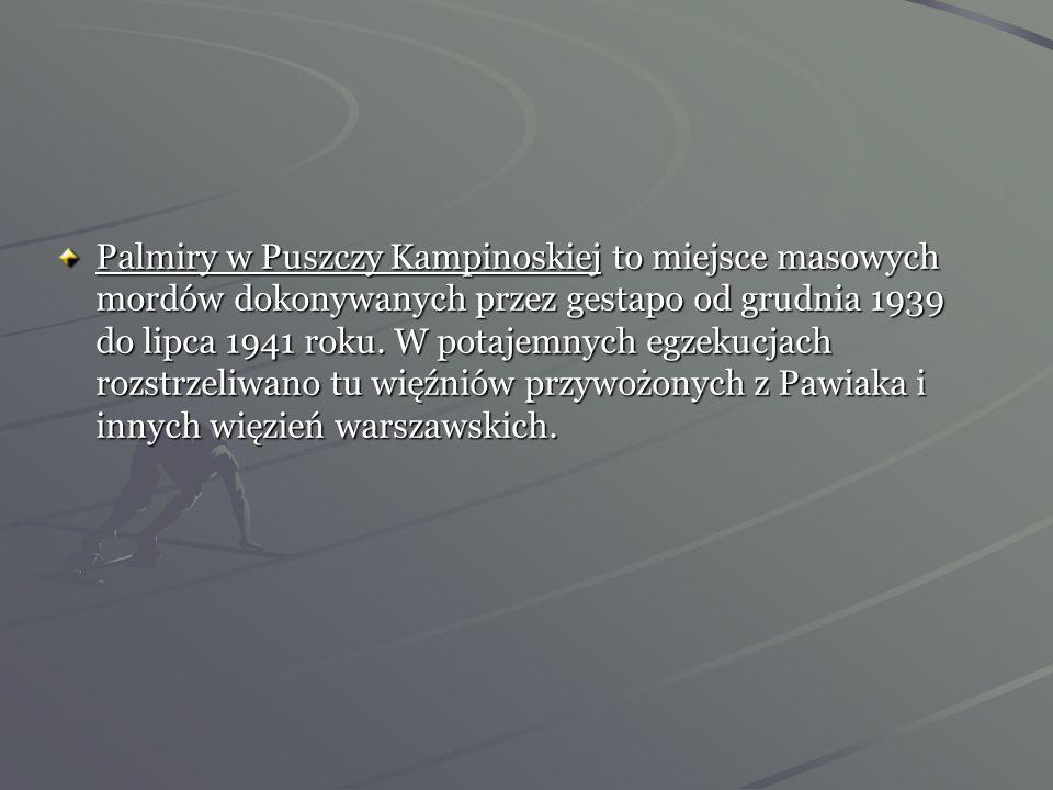 Palmiry w Puszczy Kampinoskiej to miejsce masowych mordów dokonywanych przez gestapo od grudnia 1939 do lipca 1941 roku.