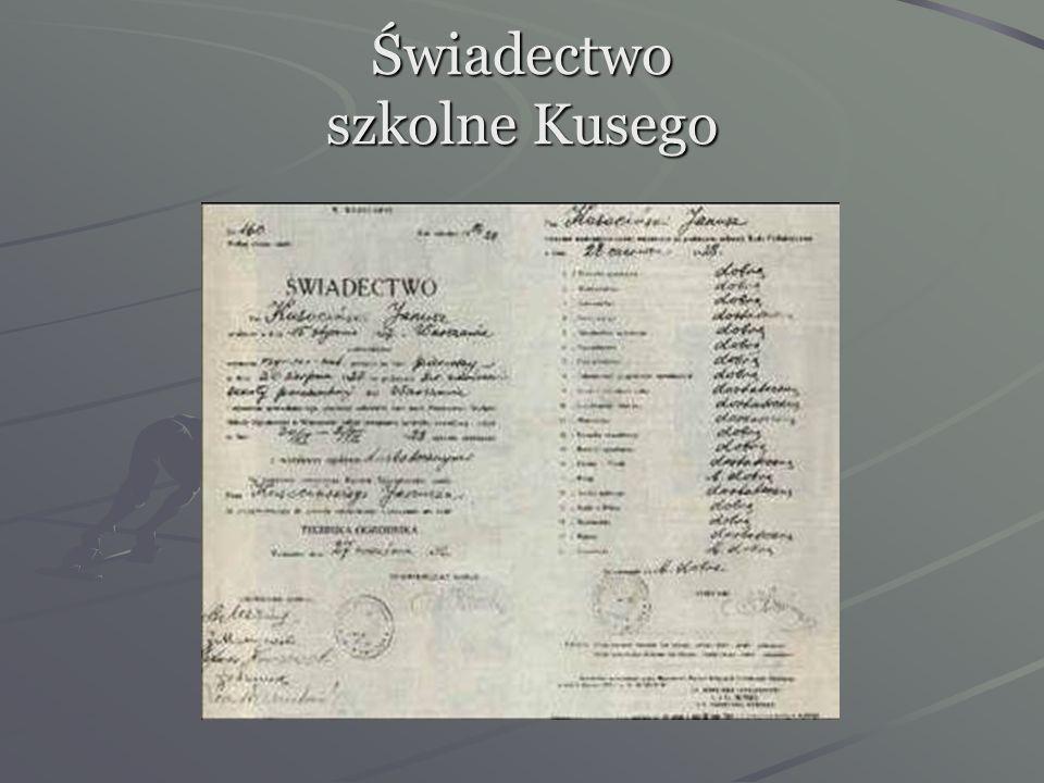 Świadectwo szkolne Kusego