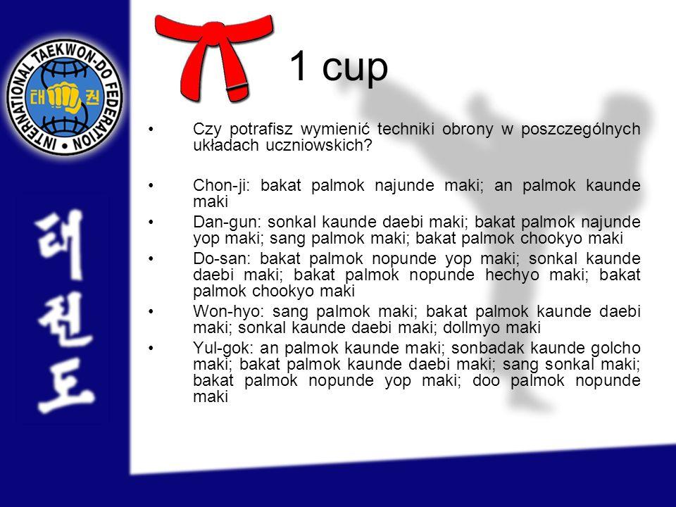 1 cup Czy potrafisz wymienić techniki obrony w poszczególnych układach uczniowskich Chon-ji: bakat palmok najunde maki; an palmok kaunde maki.