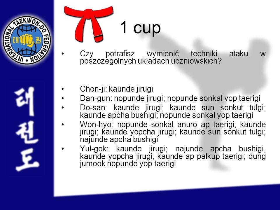 1 cup Czy potrafisz wymienić techniki ataku w poszczególnych układach uczniowskich Chon-ji: kaunde jirugi.