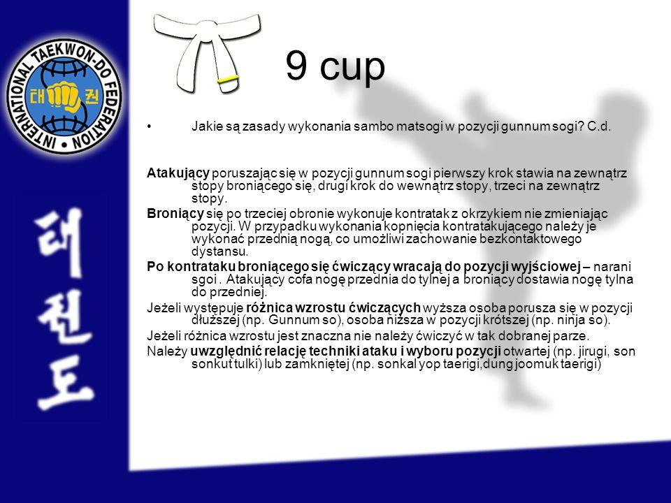 9 cup Jakie są zasady wykonania sambo matsogi w pozycji gunnum sogi C.d.