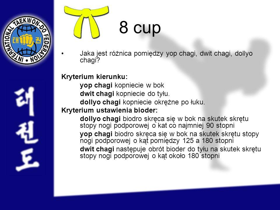 8 cup Jaka jest różnica pomiędzy yop chagi, dwit chagi, dollyo chagi