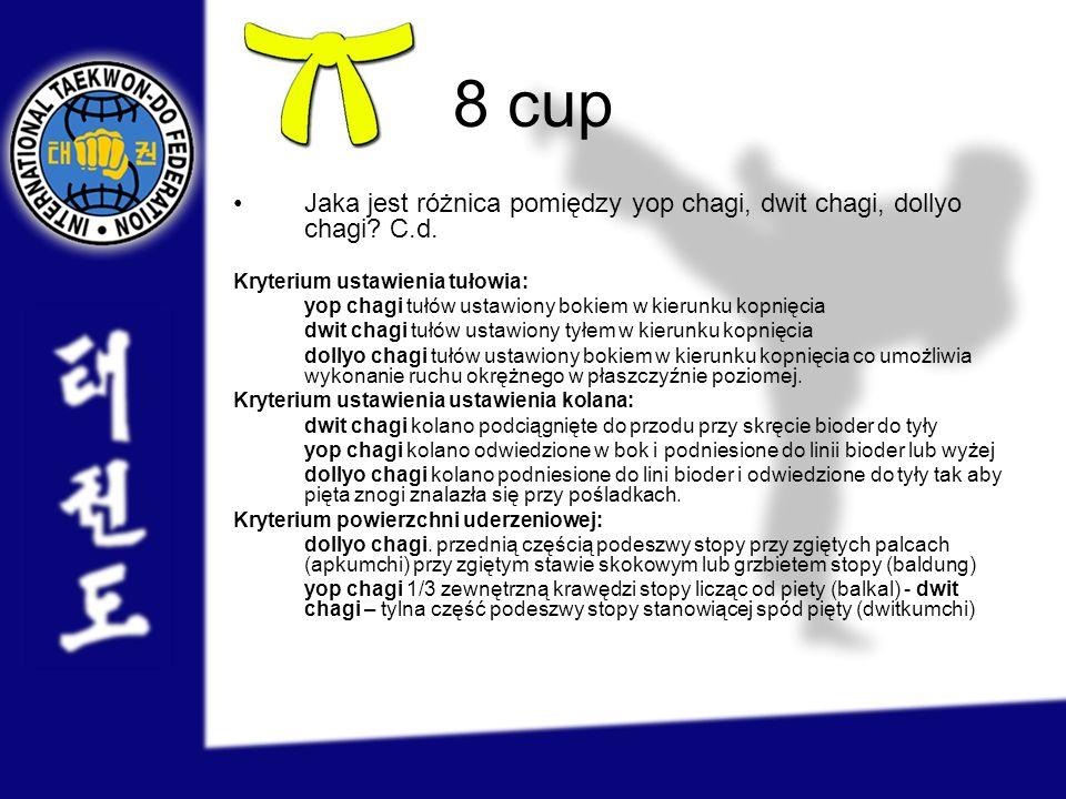 8 cup Jaka jest różnica pomiędzy yop chagi, dwit chagi, dollyo chagi C.d. Kryterium ustawienia tułowia: