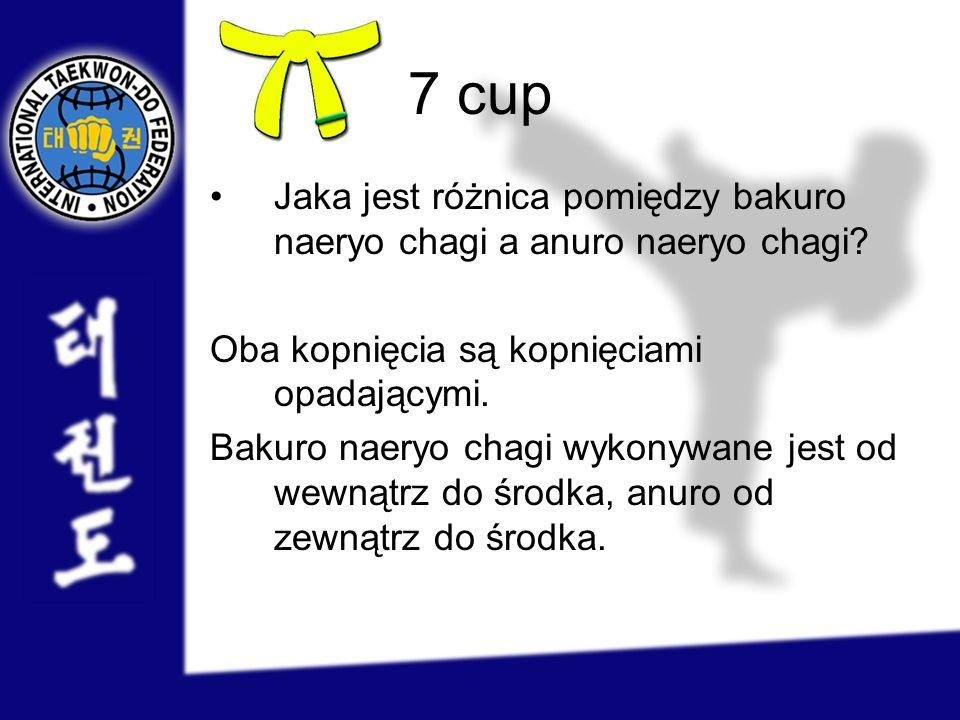 7 cup Jaka jest różnica pomiędzy bakuro naeryo chagi a anuro naeryo chagi Oba kopnięcia są kopnięciami opadającymi.