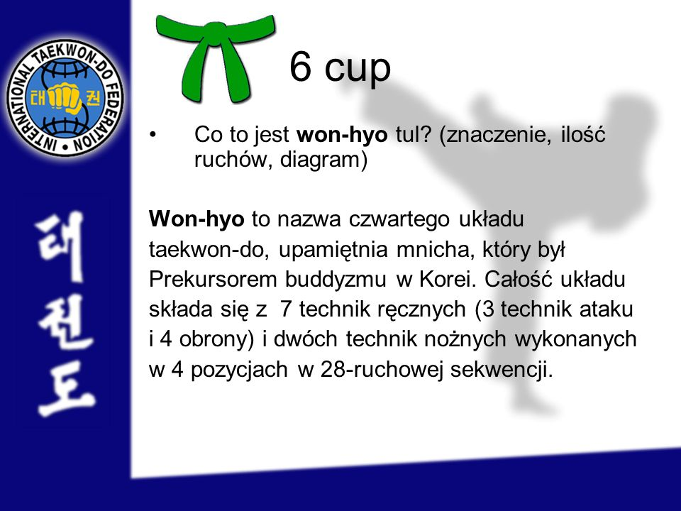 6 cup Co to jest won-hyo tul (znaczenie, ilość ruchów, diagram)