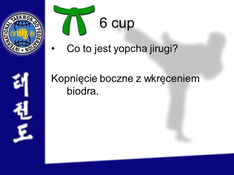 6 cup Co to jest yopcha jirugi Kopnięcie boczne z wkręceniem biodra.
