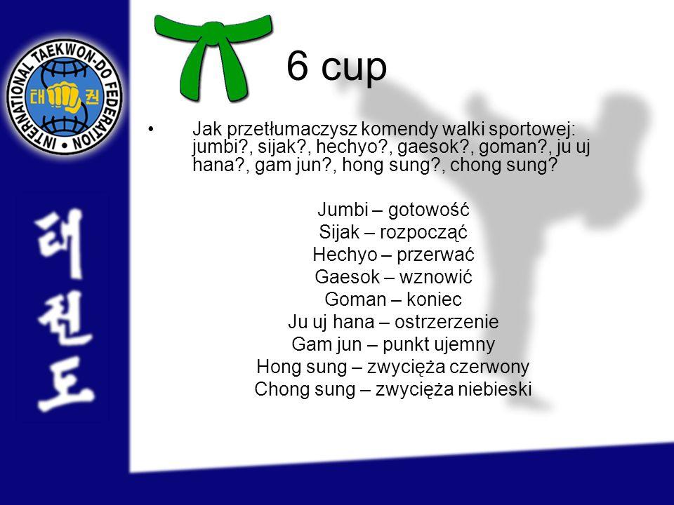 6 cup Jak przetłumaczysz komendy walki sportowej: jumbi , sijak , hechyo , gaesok , goman , ju uj hana , gam jun , hong sung , chong sung