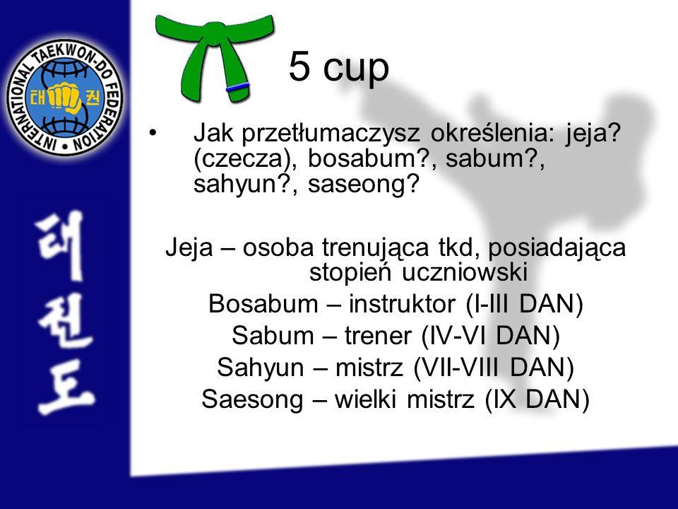 5 cup Jak przetłumaczysz określenia: jeja (czecza), bosabum , sabum , sahyun , saseong Jeja – osoba trenująca tkd, posiadająca stopień uczniowski.