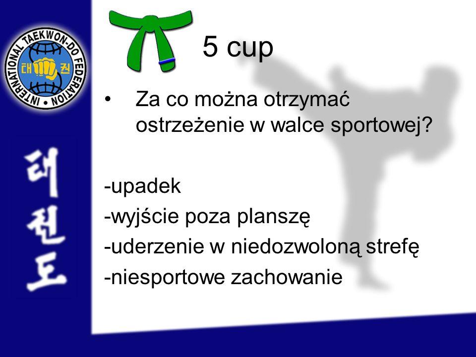 5 cup Za co można otrzymać ostrzeżenie w walce sportowej -upadek