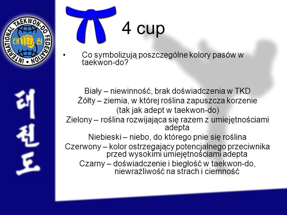 4 cup Co symbolizują poszczególne kolory pasów w taekwon-do