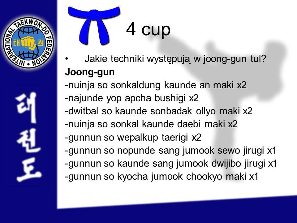 4 cup Jakie techniki występują w joong-gun tul Joong-gun