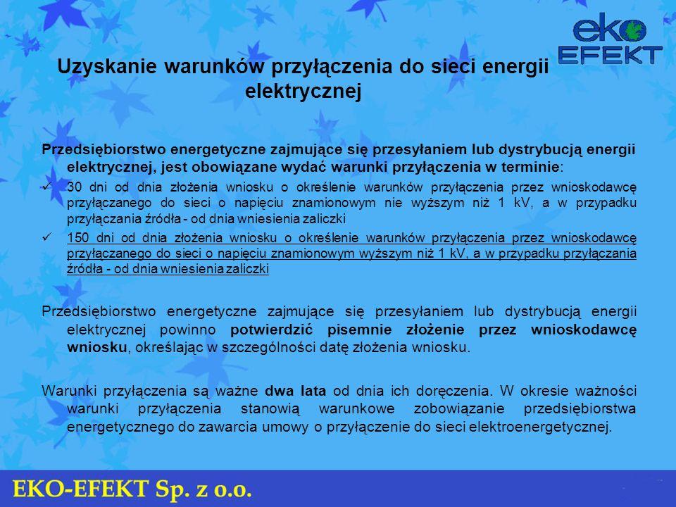 Uzyskanie warunków przyłączenia do sieci energii elektrycznej