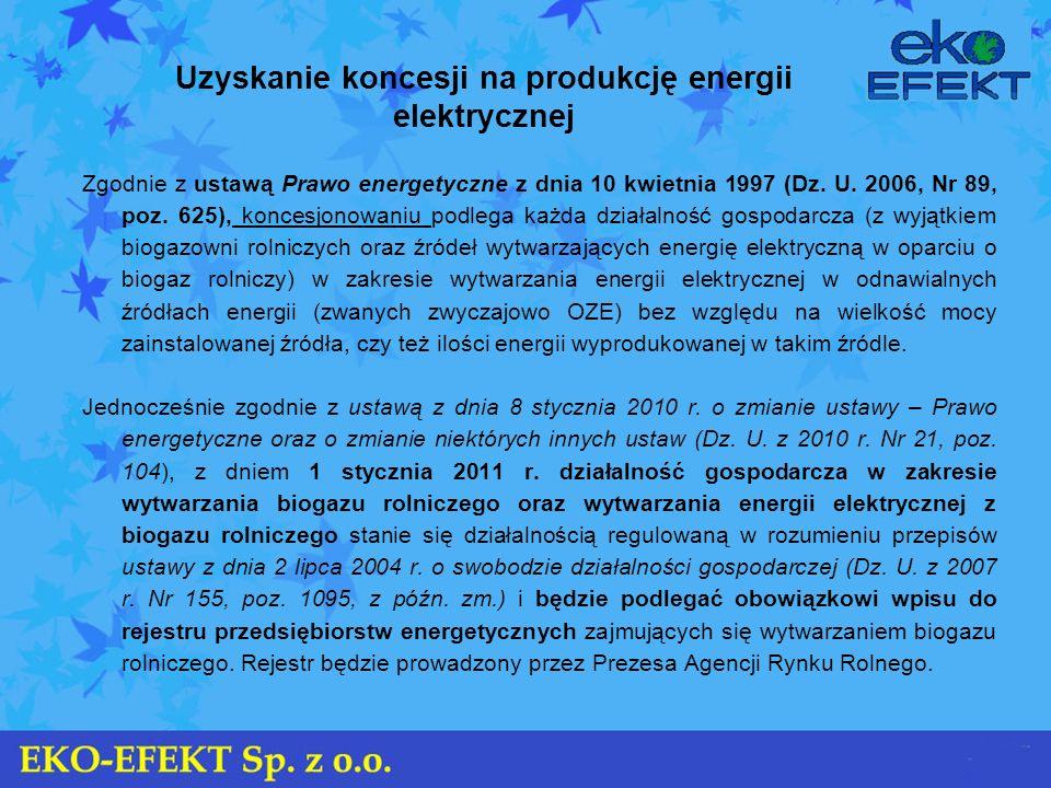 Uzyskanie koncesji na produkcję energii elektrycznej