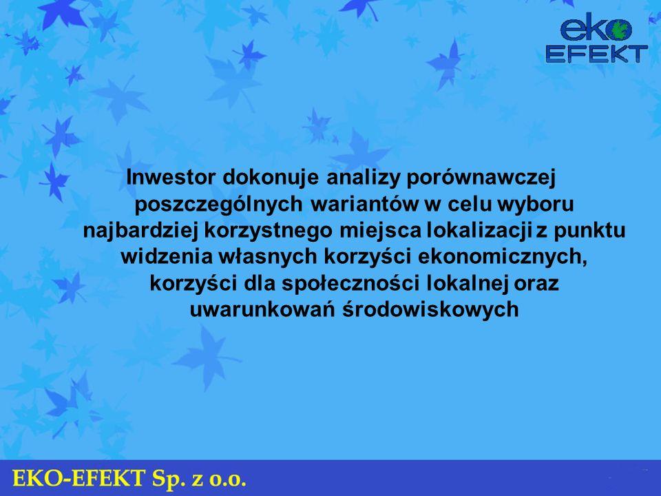 Inwestor dokonuje analizy porównawczej poszczególnych wariantów w celu wyboru najbardziej korzystnego miejsca lokalizacji z punktu widzenia własnych korzyści ekonomicznych, korzyści dla społeczności lokalnej oraz uwarunkowań środowiskowych