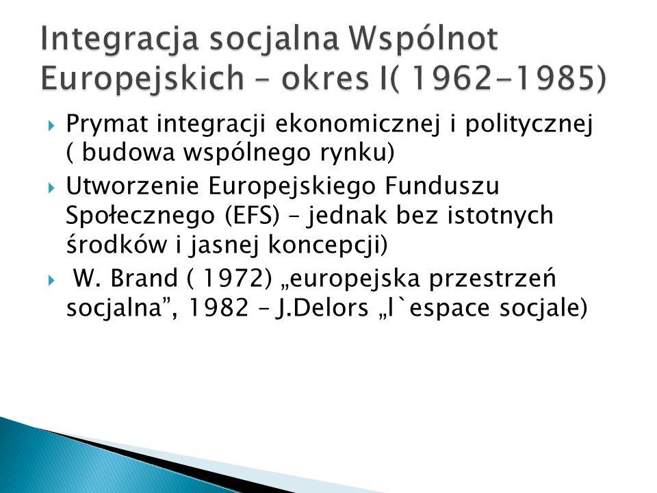 Integracja socjalna Wspólnot Europejskich – okres I( 1962-1985)