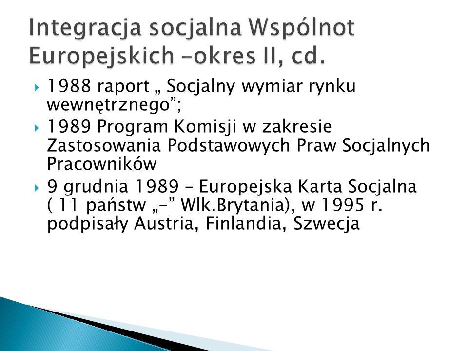 Integracja socjalna Wspólnot Europejskich –okres II, cd.